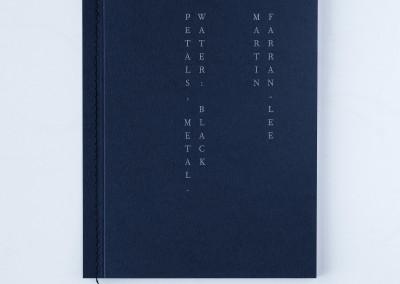 Petals, Metal. Water: Black. Artist's book cover